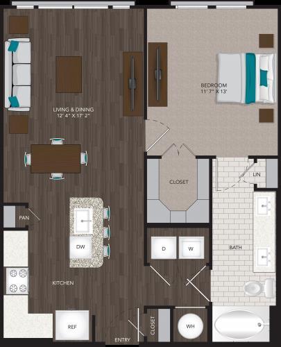 756 sq. ft. A8 floor plan