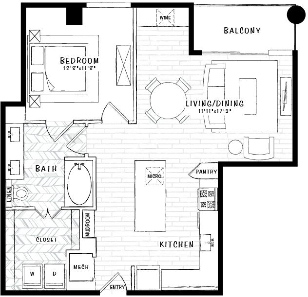 892 sq. ft. A3 floor plan