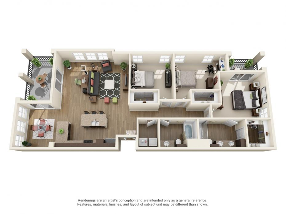 1,580 sq. ft. C1 floor plan