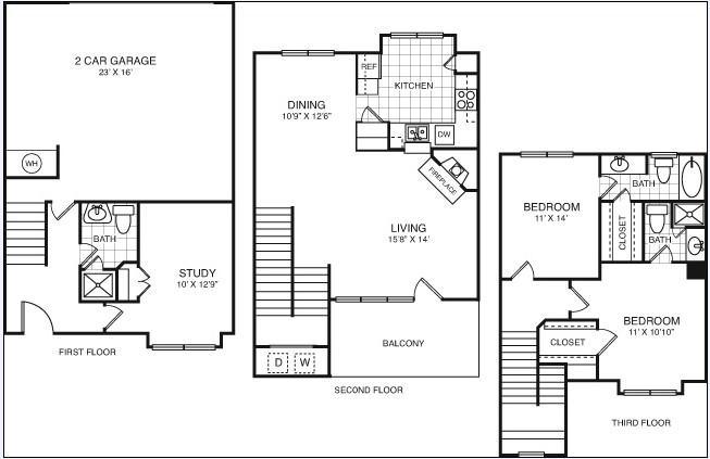 1,595 sq. ft. C3T floor plan