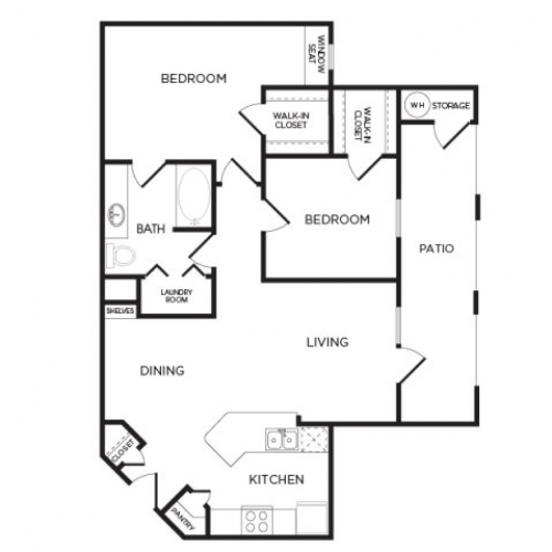 962 sq. ft. B1 floor plan