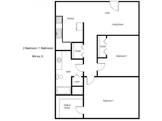 964 sq. ft. 30% floor plan