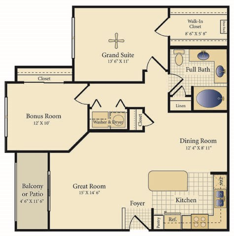 966 sq. ft. Sandoval floor plan