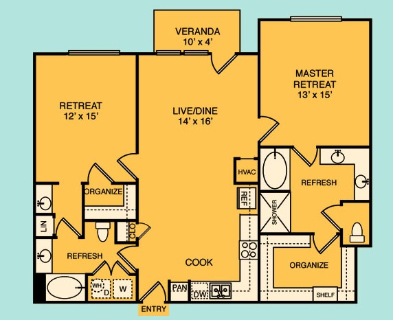 1,258 sq. ft. to 1,266 sq. ft. B3 floor plan