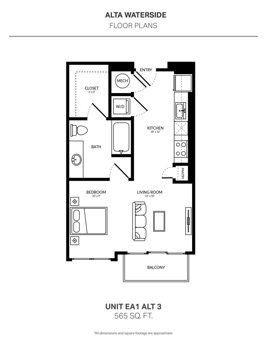 565 sq. ft. EA1 Alt 3 floor plan