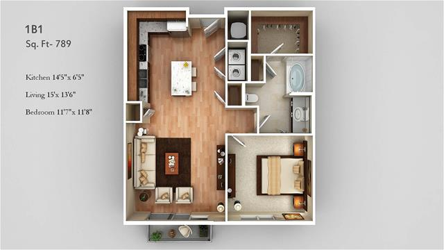 789 sq. ft. 1B1 floor plan