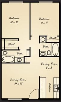 944 sq. ft. B2 floor plan
