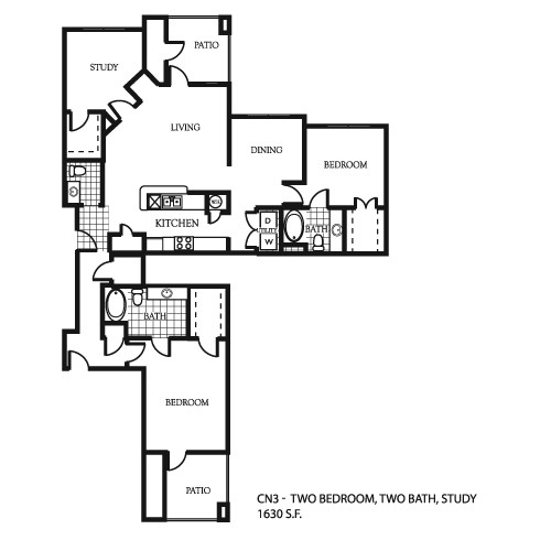 1,630 sq. ft. C1 floor plan