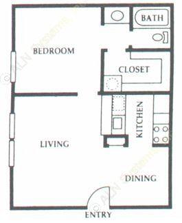 523 sq. ft. A1 floor plan
