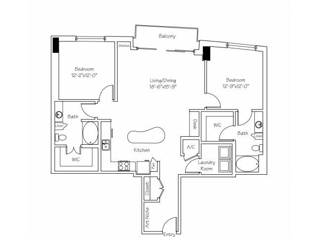 1,347 sq. ft. B3 floor plan