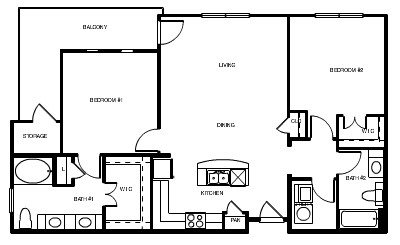 1,174 sq. ft. Paris floor plan