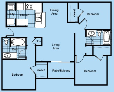 1,215 sq. ft. 60% floor plan