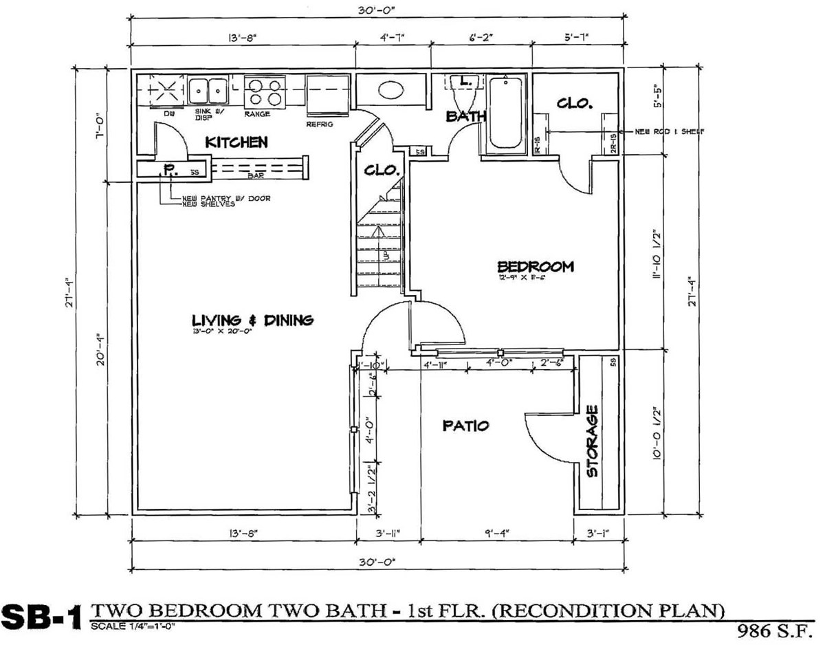 986 sq. ft. SB1/50% floor plan