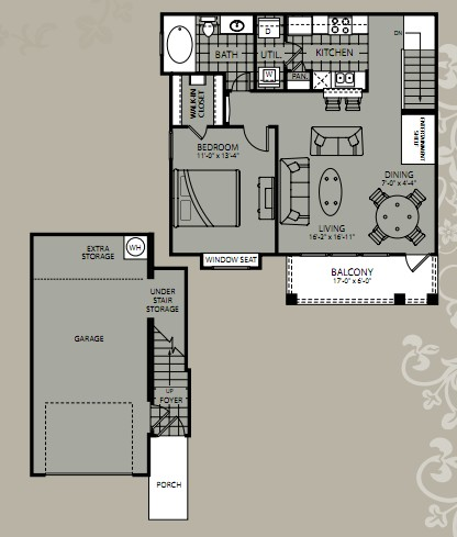 787 sq. ft. Celestia floor plan