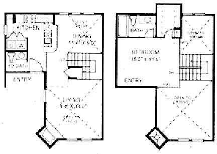 828 sq. ft. A2 floor plan
