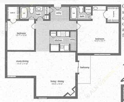1,145 sq. ft. B-2 floor plan