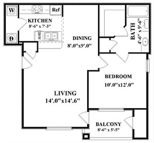 750 sq. ft. Madiosn-A2 floor plan