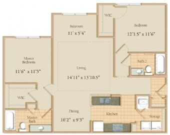 1,130 sq. ft. floor plan