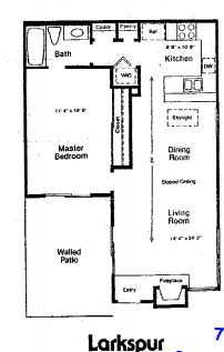 745 sq. ft. A floor plan