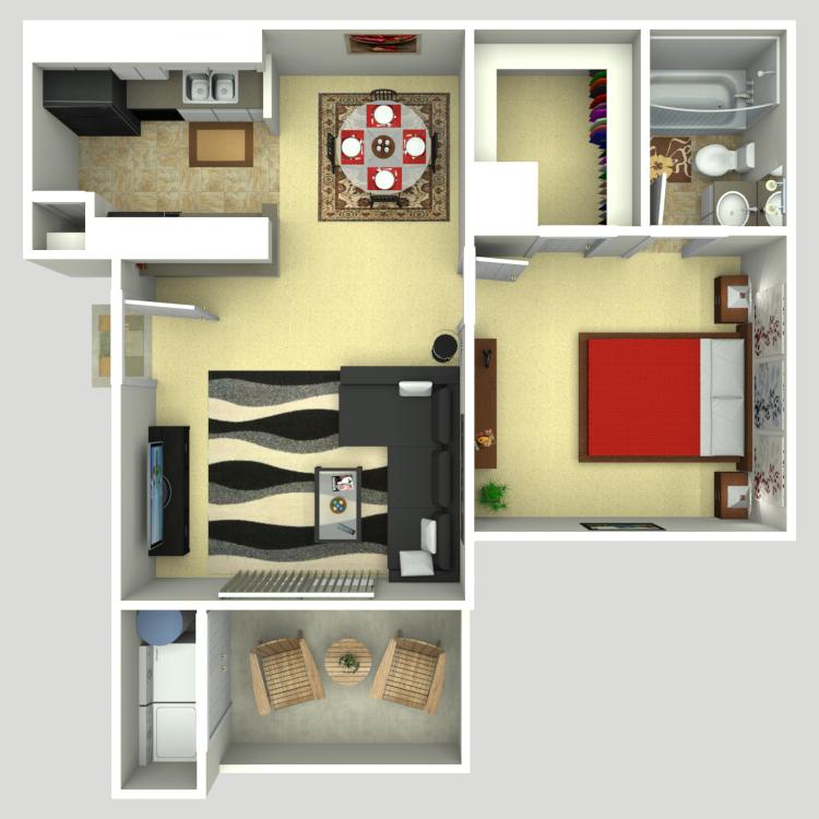 566 sq. ft. A2 floor plan