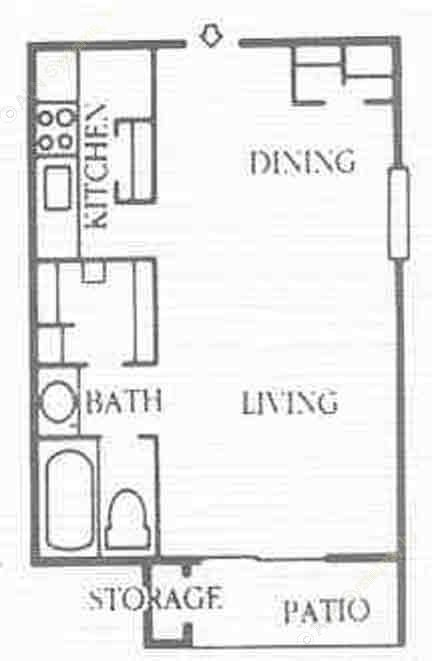 488 sq. ft. E1 floor plan