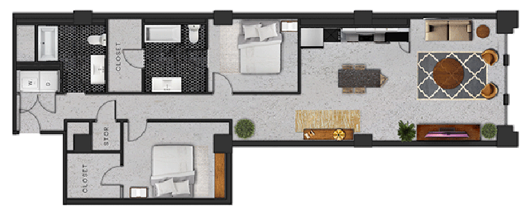 1,406 sq. ft. L floor plan