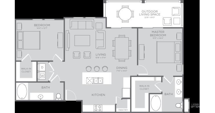 1,249 sq. ft. Sand Dollar floor plan