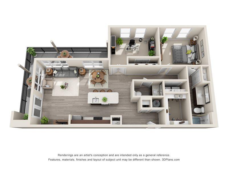1,155 sq. ft. A7 floor plan