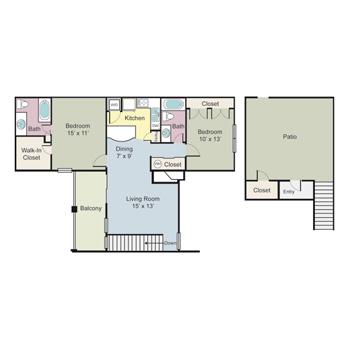 1,059 sq. ft. B2D floor plan