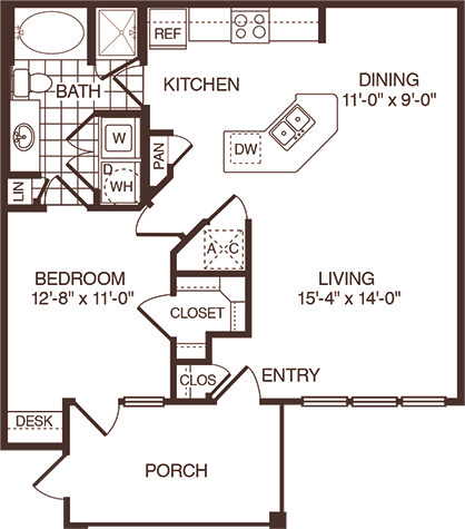 850 sq. ft. Palmetto floor plan
