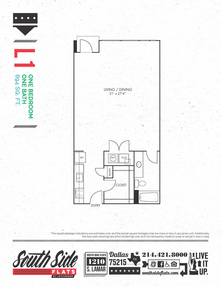 894 sq. ft. L1 floor plan