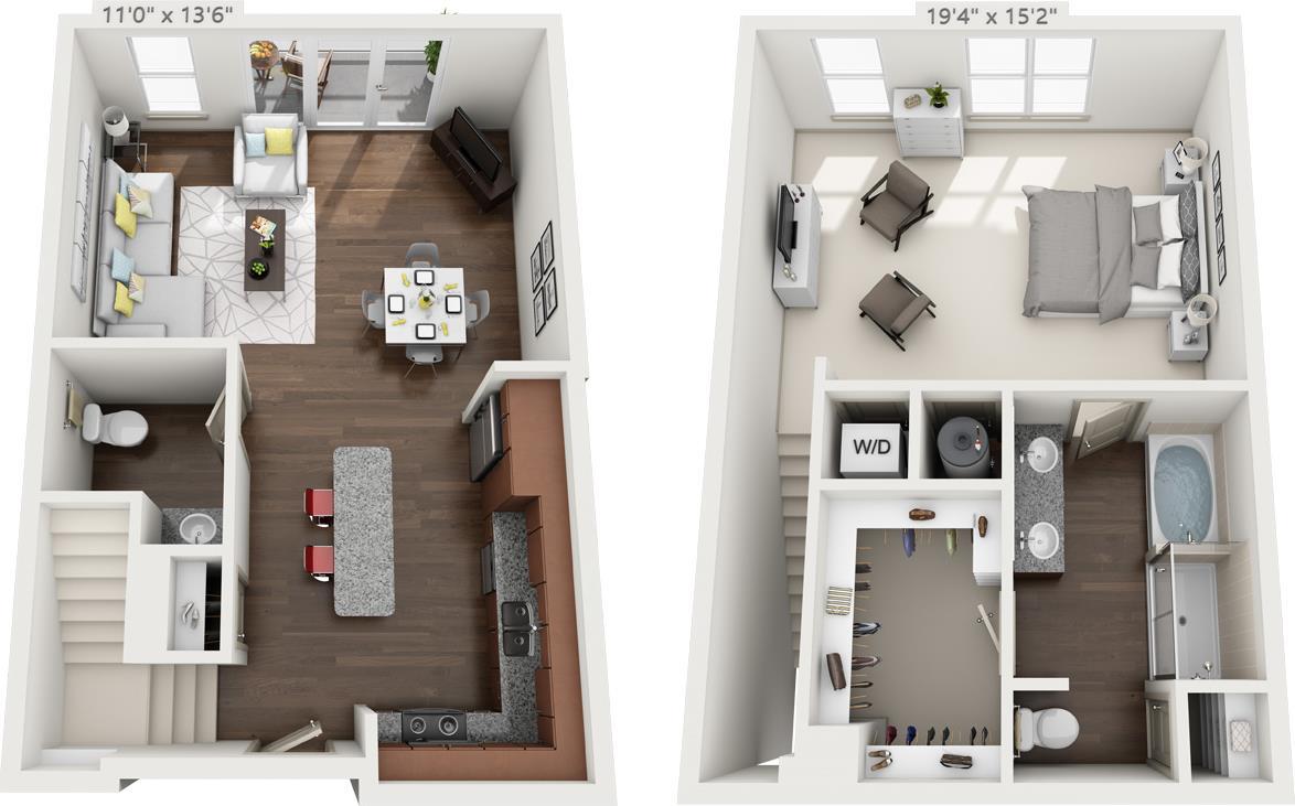 1,158 sq. ft. TH-1 floor plan