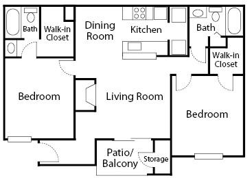 926 sq. ft. Willow floor plan