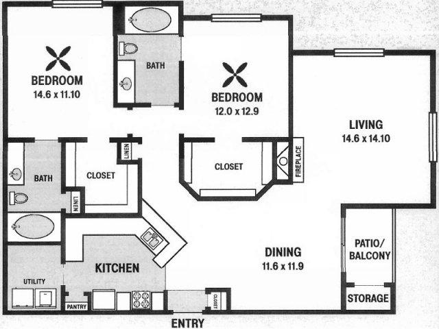 1,388 sq. ft. B8 floor plan