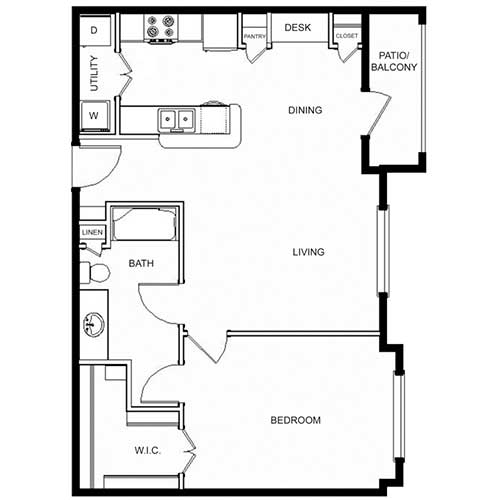 746 sq. ft. 60% floor plan