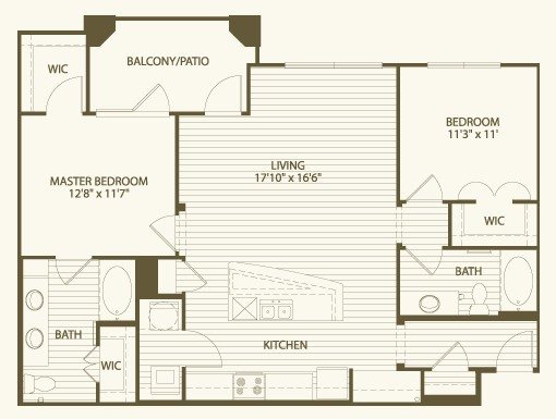 1,164 sq. ft. B4 floor plan