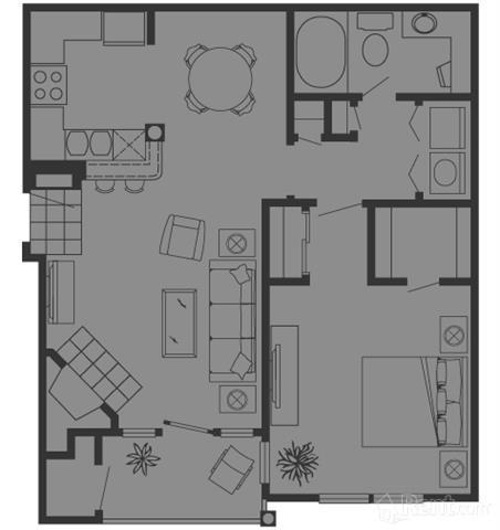 765 sq. ft. B floor plan