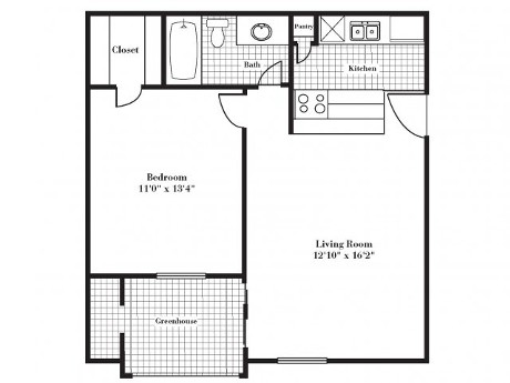 638 sq. ft. A1G floor plan
