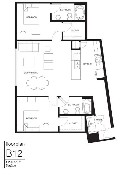 1,200 sq. ft. B12 floor plan