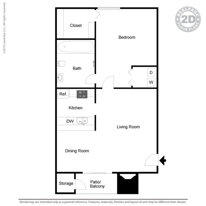 598 sq. ft. A5 floor plan