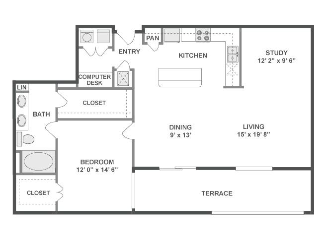 1,181 sq. ft. Swing floor plan