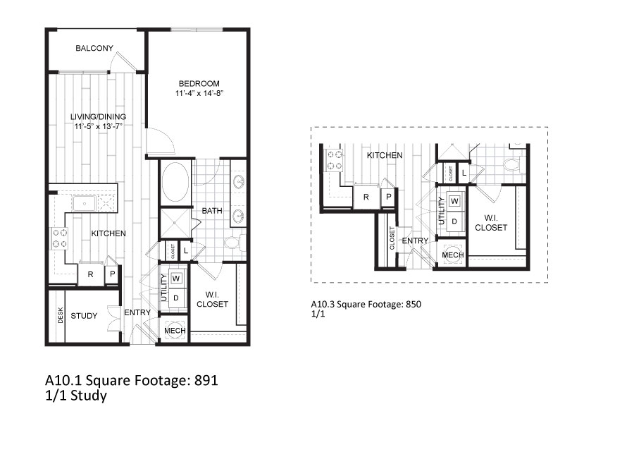 850 sq. ft. to 891 sq. ft. A10.1 floor plan