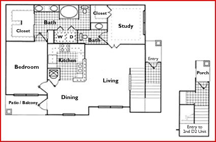 1,091 sq. ft. C2 floor plan