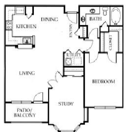 979 sq. ft. C floor plan