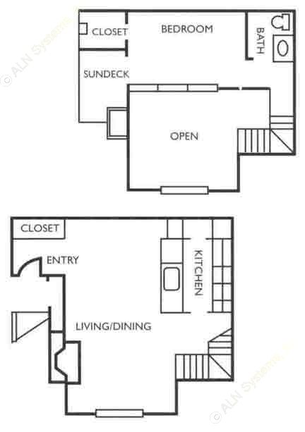815 sq. ft. A1 floor plan