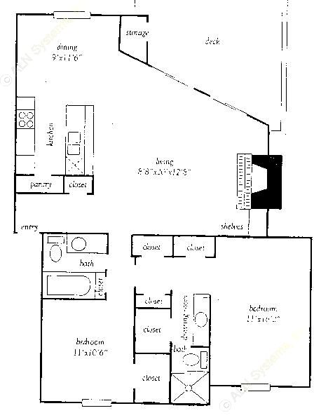 1,214 sq. ft. P floor plan