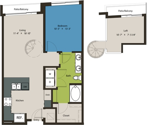 876 sq. ft. A6 floor plan