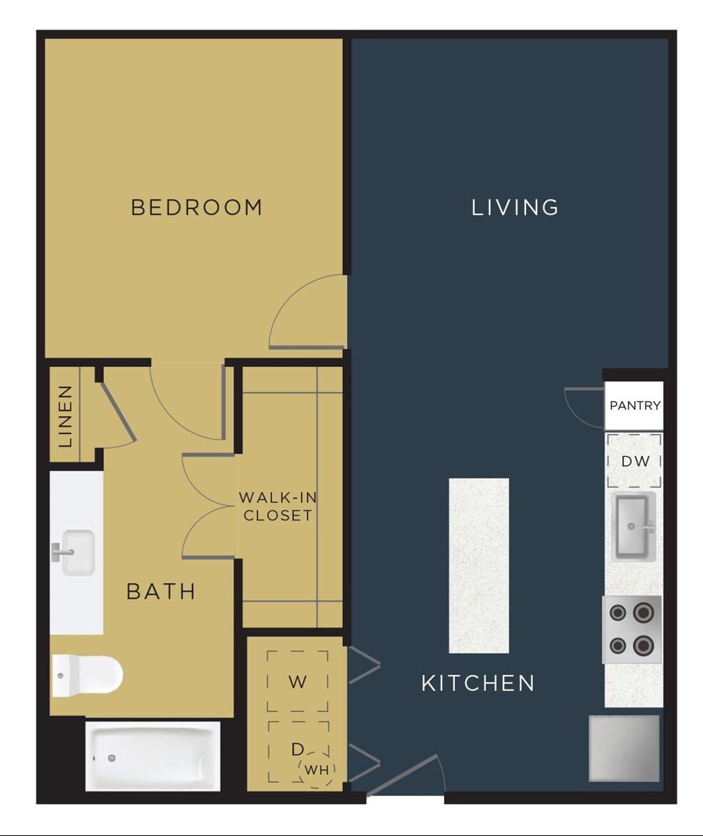 702 sq. ft. A2-B floor plan