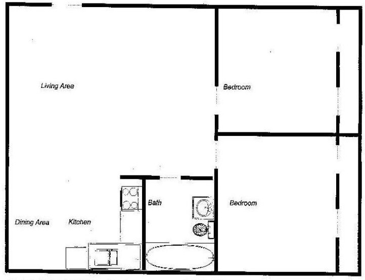 809 sq. ft. floor plan