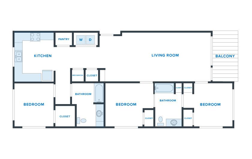 1,350 sq. ft. Violet Crown floor plan